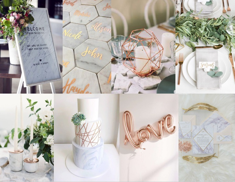 Marble and rose gold inspiration board